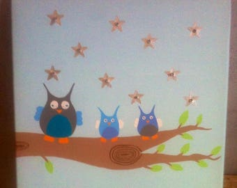 """Bright decorative painting """"OWL family"""""""
