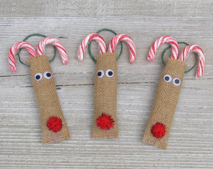 Set of 3 Burlap Candy Cane Christmas Tree Reindeer Decorations