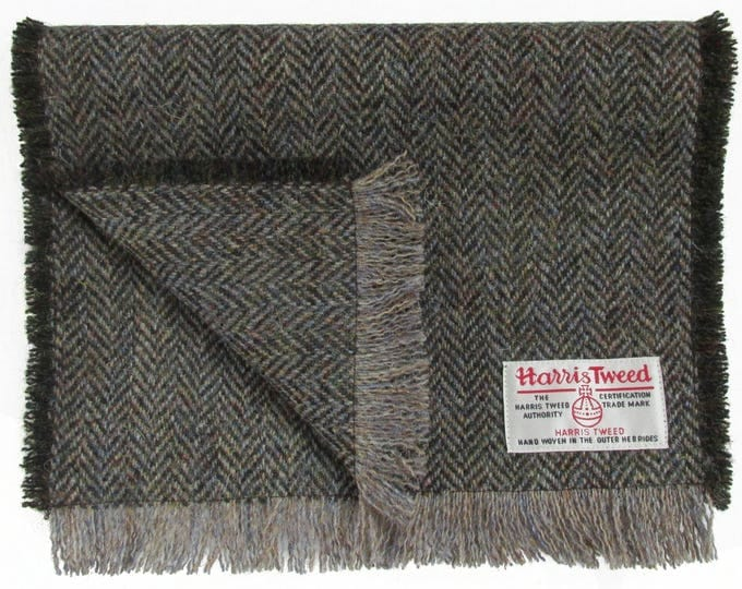 Harris Tweed Woodland Brown Herringbone Pure Wool Neck Scarf