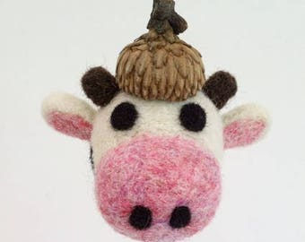 Cow Ornament, Needle Felted Wool with Acorn Cap, Dairy, Farm, Farmer
