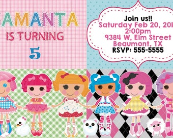 18 lalaloopsy invitation birthday party  invitation shape cut heavy cardstock + free matching color envelopes