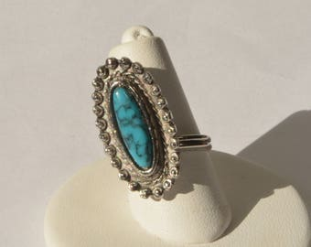 Vintage Silver Tone Blue Turquoise Ring Size 4-10 Adjustable