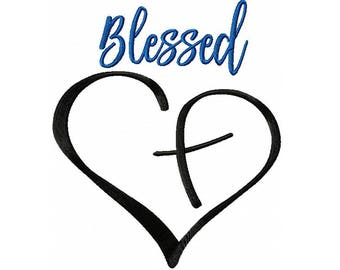 Blessed Cross in Heart Embroidery Digital Download