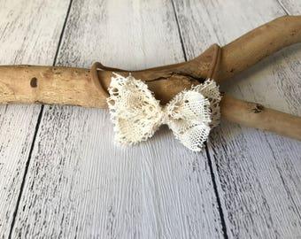 Cream lace bow headband