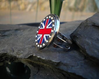 Ring adjustable, ring flag ring silver, nickel free, ring cabochon, Union Jack, Adjustable ring, Adjustable ring, ghilou