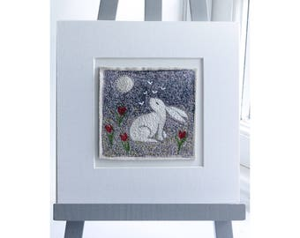 Hare and Moon, with tulips, embroidered,stitched original artwork