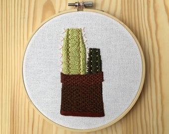 Modern Basket Cacti Hoop Art
