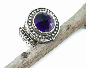 Amethyst ring set in sterling silver 925. Authentic genuine natural 12mm round checkerboard cut amethyst stone. Size -7