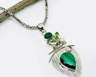 Malachite, peridot, green amethyst pendant, necklaces set in sterling silver(92.5). Natural authentic stones.