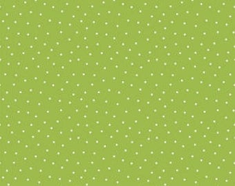 Glamper Dots Green Riley Blake fabric by the yard, green polka dot cotton fabric, Glamper-licious By Samantha Walker,lime Christmas fabric
