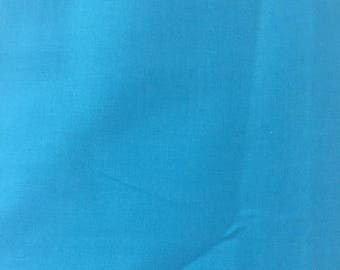 Aqua solid cotton blend fabric by the yard, solid quilting cotton, teal blue apparel fabric, cotton poly blend solids, fabric for boys