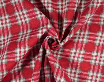 Christmas plaid cotton jersey knit fabric by the yard, tartan plaid knit fabric, red plaid stretch knit apparel fabric,Christmas pajama knit