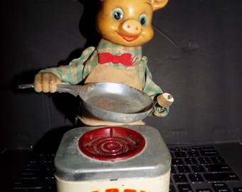 Vintage 1950s Tin Litho Piggy Cook Battery Operated Toy Made in Japan Display Only