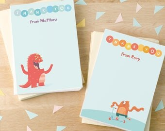 Personalised Monster Thank You Cards -- Minimum order 8
