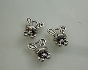 Silver plated // Small cute bunny charms // 3PC