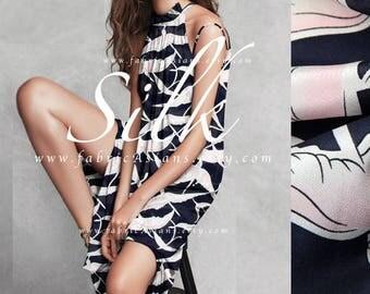 Buy Printed silk bird fabric navy blue silk crepe by the yard - achat crepe de soie au metre