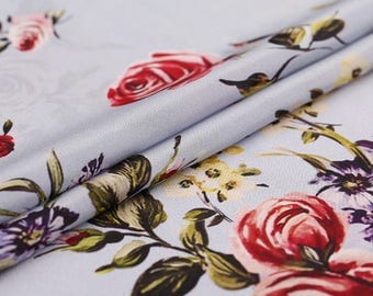 crepe de chine grayish blue rose fabric by the yard