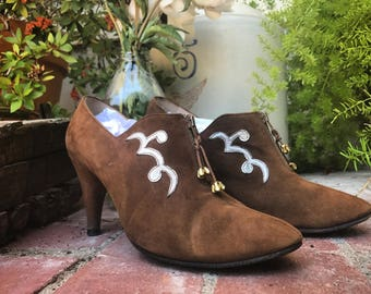 1970's suede ankle boots