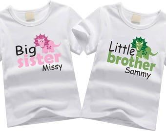 Personalized brother shirts. Sibling shirt set. Big sister, little brother. Custom sibling shirt SET OF 2. Pecking order shirts. Dinosaurs
