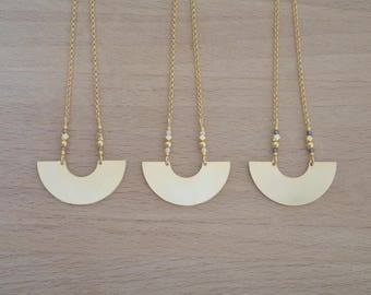 Minimalist half circle gilded with fine gold necklace