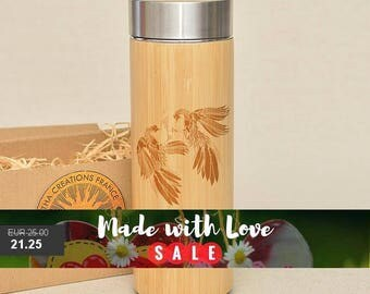 Original Bamboo Thermos Wooden Flask 380 ml Engraved Wood COCKFIGHTING Stainless Steel with Screw Lid