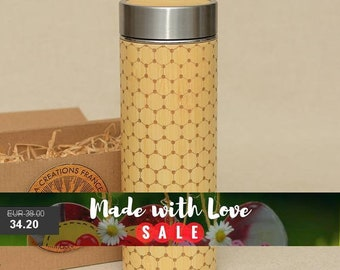 Original Bamboo Thermos Wooden Flask 380 ml Engraved Wood GRAPHENE Stainless Steel with Screw Lid