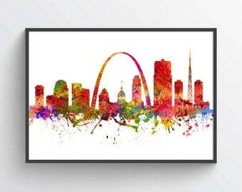 St Louis Missouri Skyline Poster St Louis Cityscape St Louis Art St Louis