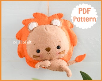 PDF PATTERN: Jungle Series Lion. Felt jungle animal lion pattern, Felt plush doll sewing pattern.