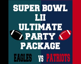 The Ultimate Football Party Package - Includes over 100 pages of printables for both the Eagles and Patriots Football Teams - Photo Props
