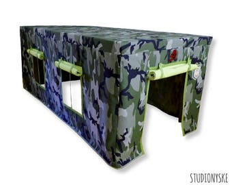 Table playhouse camouflage, sewing PATTERN, fabric indoor outdoor playtent PDF