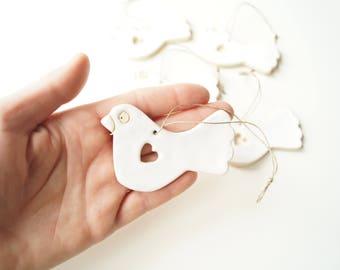 White Bird Ornament Favors, Wedding Favors, Wedding Ornament, Wedding Day Decor,  White Ornament, Hanging Ornament, Set of 5 Pieces