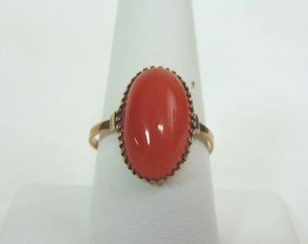 Women's Vintage Estate 10K Yellow Gold Ring w/ Carnelian Stone, 3.1g E3301