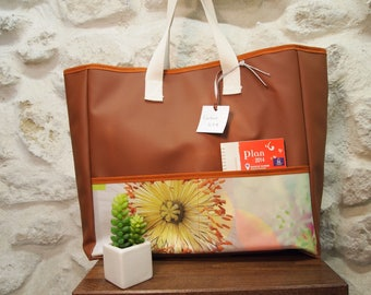 Large flower oilcloth Tote