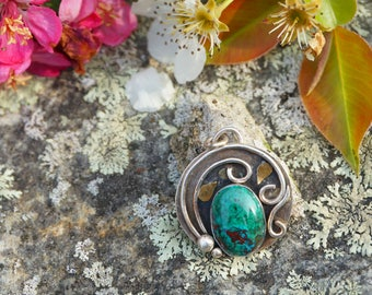 Chrysocolla Vine and leaf Pendant Necklace