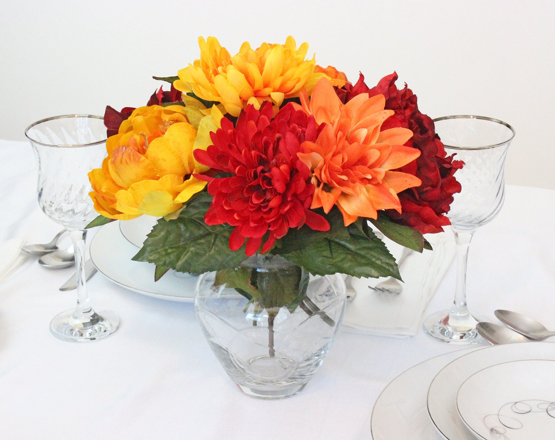 Silk Flower Arrangement Thanksgiving Flowers Fall Flowers Wedding