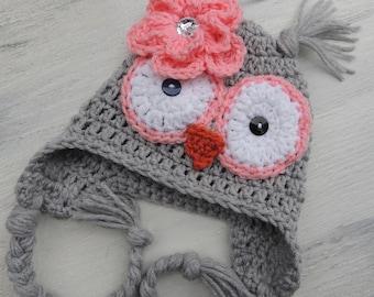 Crochet Owl Hat, Luv Beanies, Baby Owl hats, Baby hats, Girl hats, Animal hats, hats for kids, Baby photo prop, Owl beanies, Hats for kids