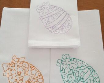 Egg Napkins Choose 2 or 4 designs & 1, 2 or 4 colors - Set of 4