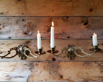 Antique Elegant Solid Brass Two Arm Wall Candle Sconces / Candlesticks stamped R235586