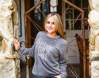 Vintage Farm Girl Sweatshirt, Slouchy Pullover Sweater, Comfy Sweatshirt, Graphic Sweatshirt, Gift, Soft