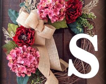 Valentine wreath, Initial wreath, hydrangea wreath, Floral wreath, wreath, Valentine's day wreath, wreath initial, rustic door wreath