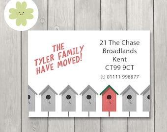 Change of address cards, Moving home announcements, Moving house address cards, change of address postcards (x 24 or printable)