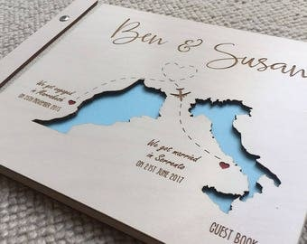 Map guest book etsy wooden wedding guest book alternative original with customised map laser engraved names bride groom gumiabroncs Choice Image