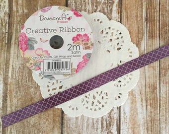 Purple Satin Ribbon Spool - 2m Painted Blooms - 10mm wide - Dovecraft
