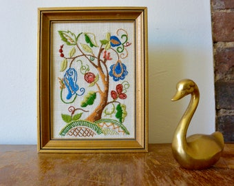 Small Framed Embroidered Crewel Artwork of Flowers / Tree