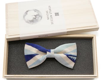 Blue Square pattern Bowtie -Graduation Gift, Toddler Bowtie , Wedding Ties, Groomsmen bow tie, Pre Tied and Adjustable Novioshk, H0022