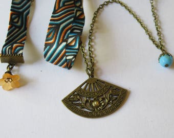 Liberty small fan blue & orange necklace