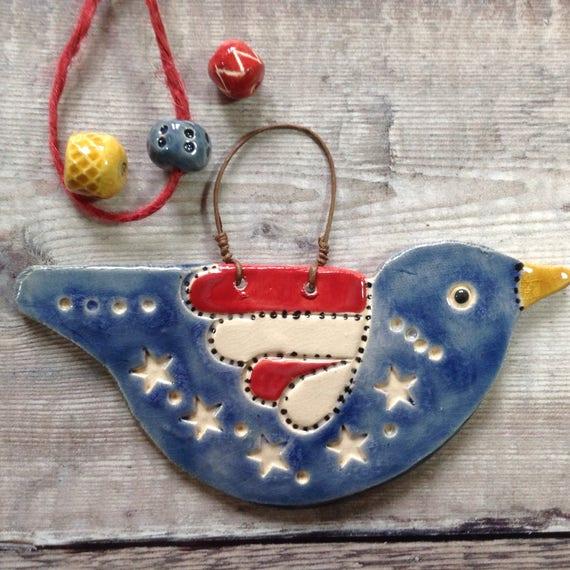 Handmade Ceramic Hanging Birds