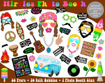 PRINTABLE Hippies Photo Booth Props–Hippies Props-70s Party Props-Hippie Photo Props-Hippie Props-Printable Hippie Party-Instant Download