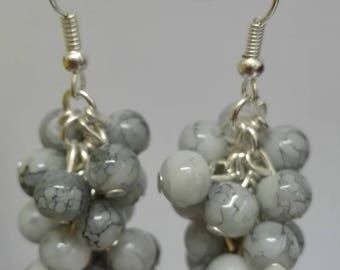 Earrings silver clusters marbled gray beads, 5 cm