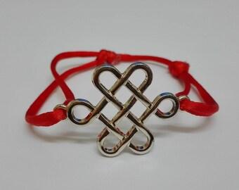 Gold Bracelet Celtic red cord
